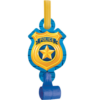 Police Party Blowouts With Medallions 8PK