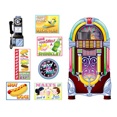 50's Soda Shop Signs & Jukebox Wall Decorations Insta-Theme Props 8PK