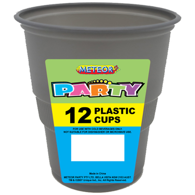 Plastic Cups 270ml Silver 12PK