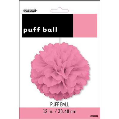 Hanging Puff Ball Decoration 30cm Hot Pink