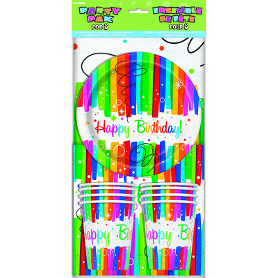 Rainbow Ribbons Party Pack for Napkin Plates Tablecover Cup 25PK