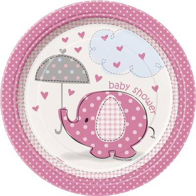 Umbrellaphants Pink 18cm Plates 8PK