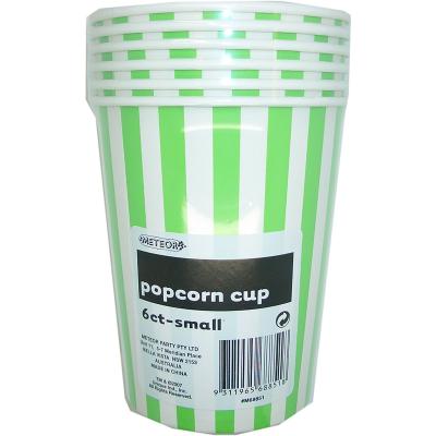 Stripes Green Popcorn Cups Small 6PK