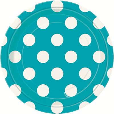 Polka Dots 17cm Plates Caribbean Teal 8PK