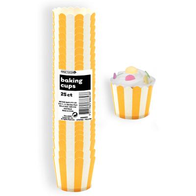 Stripes Yellow Baking Cups 25PK