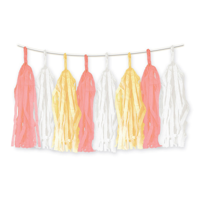 Tassel Garland Pink White Yellow 15PK