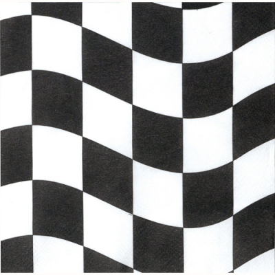 Black & White Check Beverage Napkins 18PK