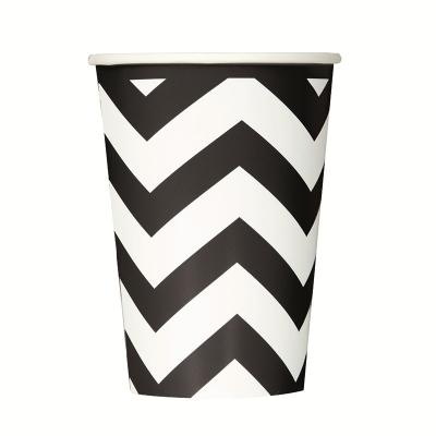 Chevron Cups 355ml Black 6PK