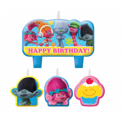 Trolls Happy Birthday Mini Moulded Candle Set 4PK