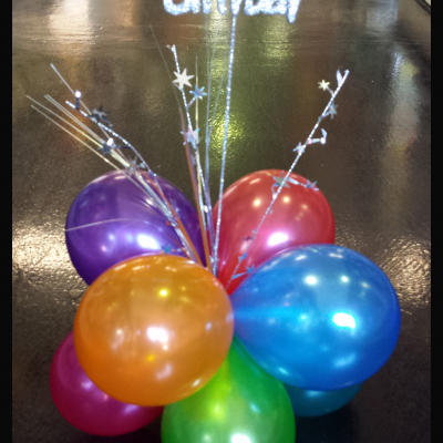 Table Spangle Air Filled Plain Colour Balloon with Happly Birthday