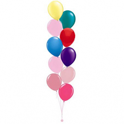 Plain Colour Helium Balloon Bouquests 10 Balloons