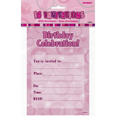 Glitz Birthday Pink Invitations With Envelope 16PK