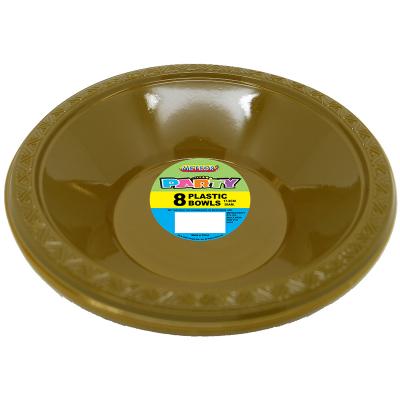 Plastic Bowls 18cm Gold 8PK