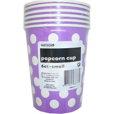 Polka Dots Popcorn Cups Small Pretty Purple 6PK
