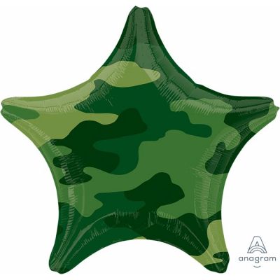 45cm Standard Foil Balloon Star Camouflage