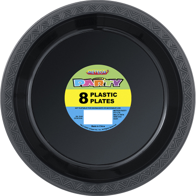 Plastic Around Plates 23cm Black 8PK