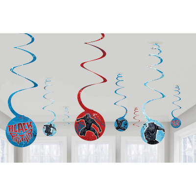 Black Panther Spiral Decoration 8PK