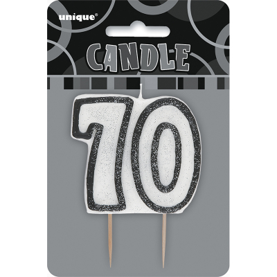 Glitz Birthday Black Numeral Candle 70th