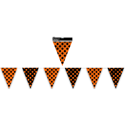 Polka Dots Bunting Flag Banner Orange & Midnight Black 12PK