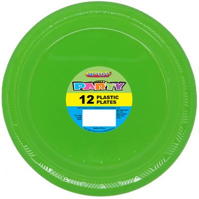 Plastic Around Plates 18cm Lime Green 12PK