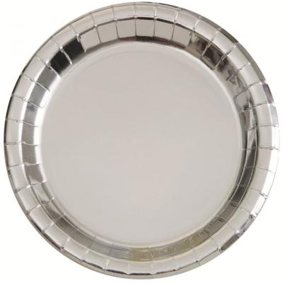 Metallic Silver Foil 18cm Paper Plates 8PK