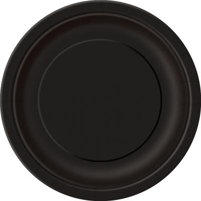 Paper Around Plates 23cm - Black 8PK
