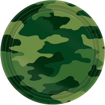 Camouflage 17cm Round Plates 8PK