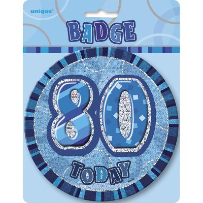 Glitz Birthday Blue Badge 80th