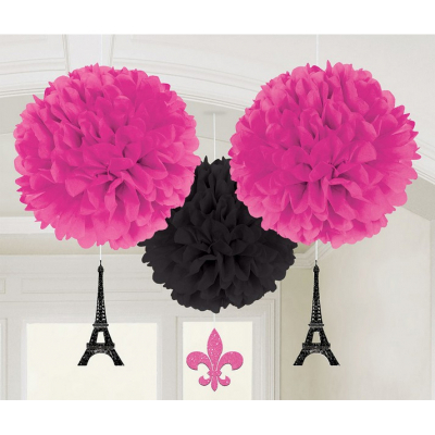 Day in Paris Fluffy Tissue Hanging Decorations & Glittered Cutouts 3PK