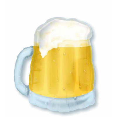 Supershape Beer Mug See-Thru Foil Balloon Inflated with Helium