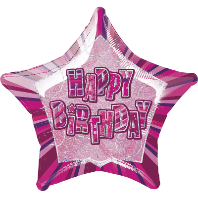 Glitz Birthday Pink Star Foil Balloon