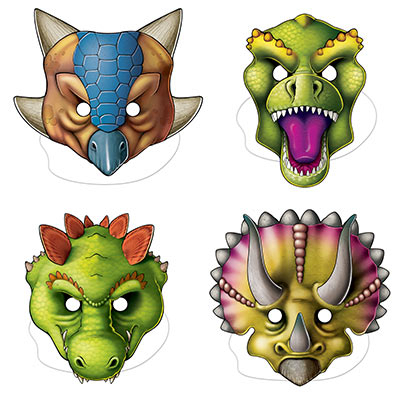 Dinosaurs Masks Assorted Designs & Sizes 4PK