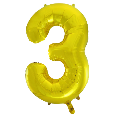 86cm 34 Inch Gaint Number Foil Balloon Gold 3 Inflated with Helium