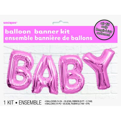 """Pink Baby 14"""" Letter Foil Balloon Kit 4PK"""