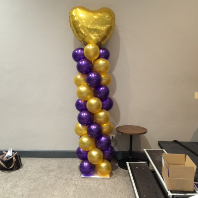 Balloon Column with Small Heart Foil Balloon