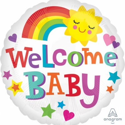 45cm Standard Foil Balloon Welcome Baby Bright & Bold