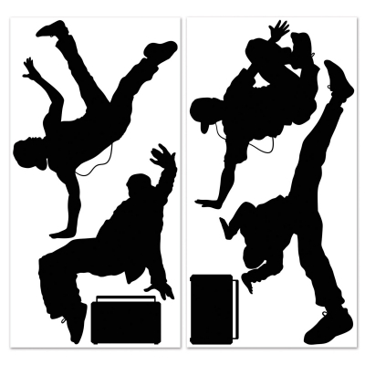 80's Break Dancers Wall Decorations Insta-Theme Props 6PK