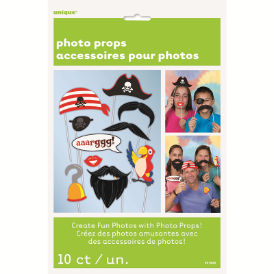 Photo Prop Pirate Booth Game 10PK