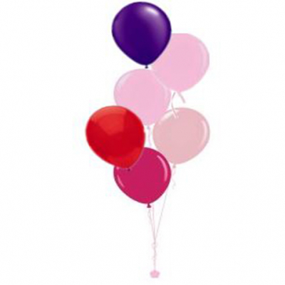 Plain Colour Helium Balloon Bouquests 6 Balloons