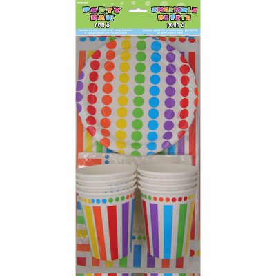 Rainbow Birthday Party Pack for Napkin Plates Tablecover Cup 25PK