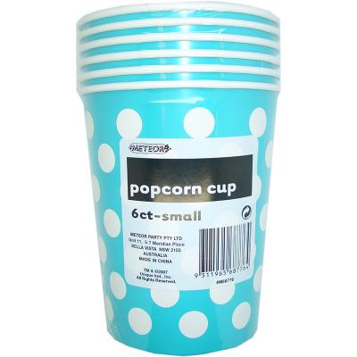 Polka Dots Popcorn Cups Small Caribbean Teal 6PK