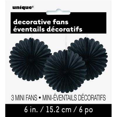 Hanging Decorative Fan 15cm Black 3PK