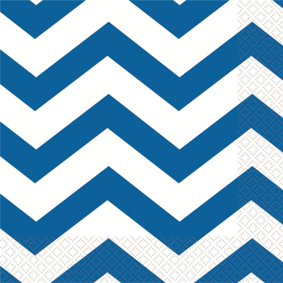 Chevron Beverage Napkins Royal Blue 16PK