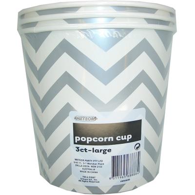 Chevron Popcorn Cup Large Silver 3PK
