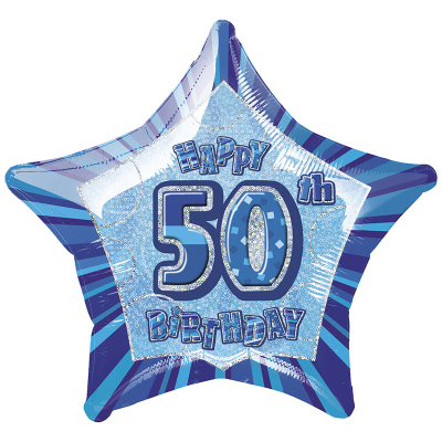 Glitz Birthday Blue Star Foil Balloon 50th