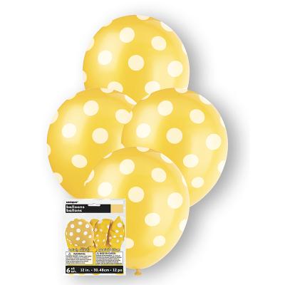 Polka Dots Balloon Sunflower Yellow 6PK