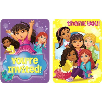 Dora And Friends Invitations & Thank You Card Combo 8PK