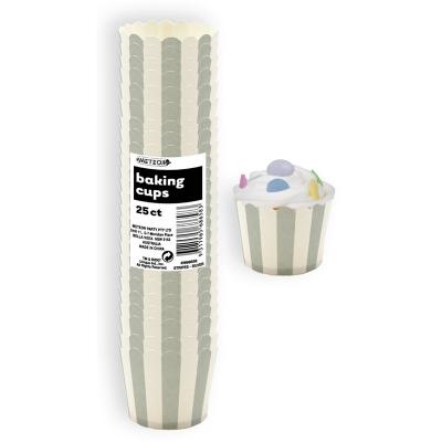 Stripes Silver Baking Cup 25PK