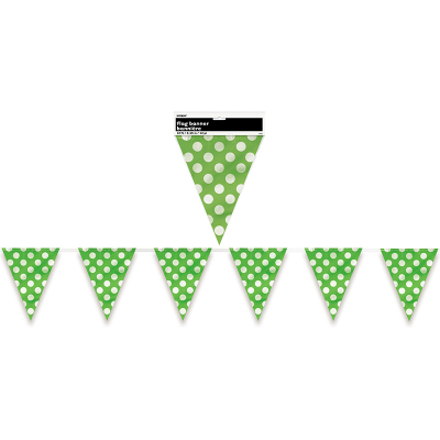Polka Dots Flag Banner Lime Green 12PK