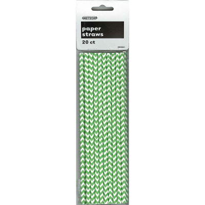 Chevron Paper Straws Green 20PK